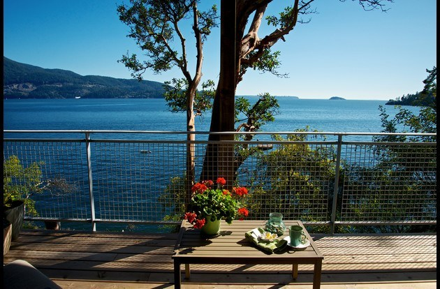 All Season Covered Waterfront Deck with comfortable seating